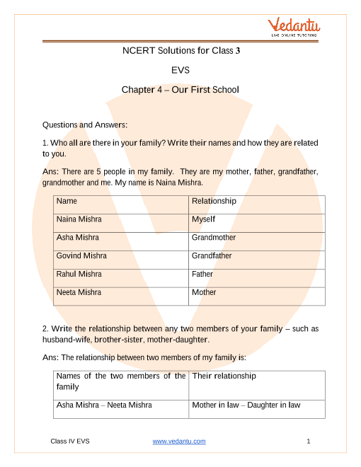 NCERT Solutions for Class 3 EVS Chapter 4 Our First School part-1