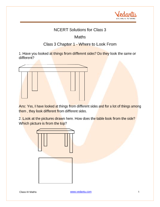 Ncert Solutions For Class 3 Maths Chapter 1 Where To Look From Free Pdf