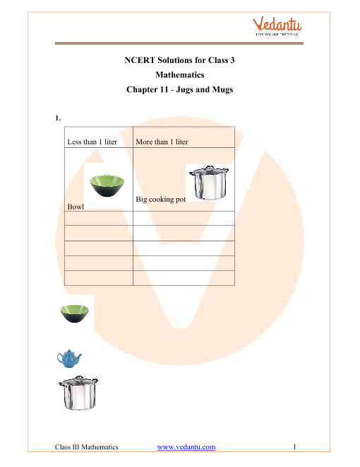 NCERT Solutions for Class 3 Maths Chapter 11 Jugs And Mugs part-1