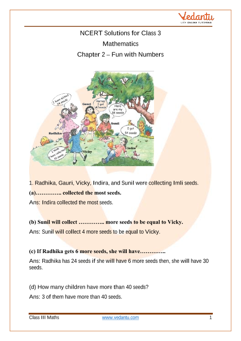 NCERT Solutions for Class 3 Maths Chapter 2 Fun With Numbers part-1