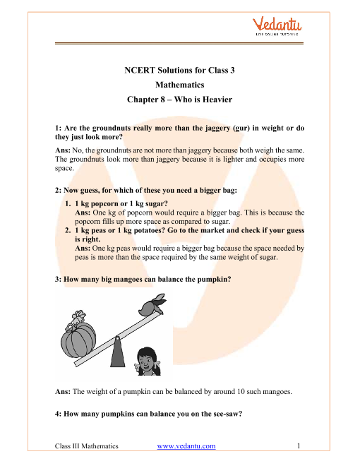 NCERT Solutions for Class 3 Maths Chapter 8 Who Is Heavier part-1