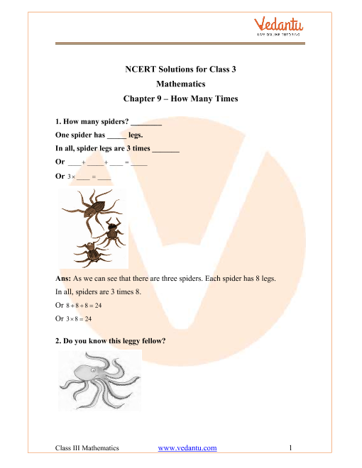 NCERT Solutions for Class 3 Maths Chapter 9 How Many Times part-1