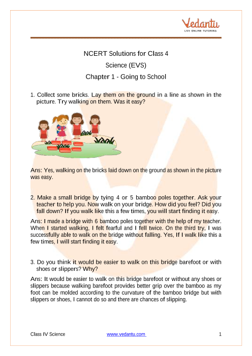 NCERT Solutions for class 4 EVS chapter 1 Going To School part-1