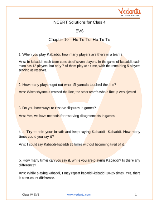 NCERT Solutions for class 4 EVS chapter 10 Hu Tu Tu Hu Tu Tu part-1