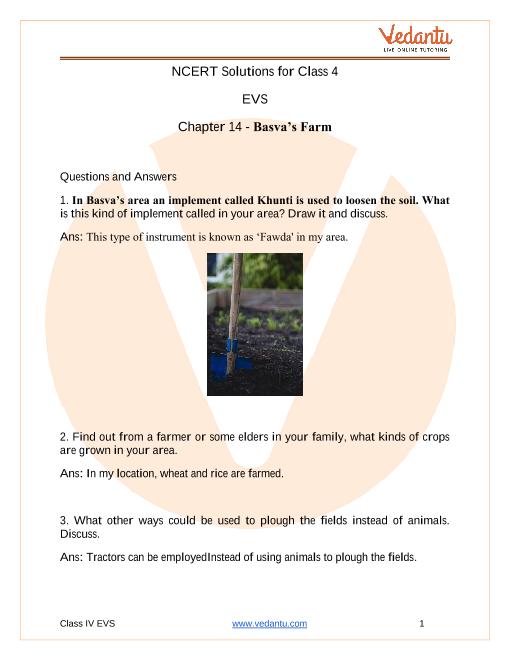Access NCERT Solutions for Class 4 EVS Chapter 14 – Basva's Farm part-1