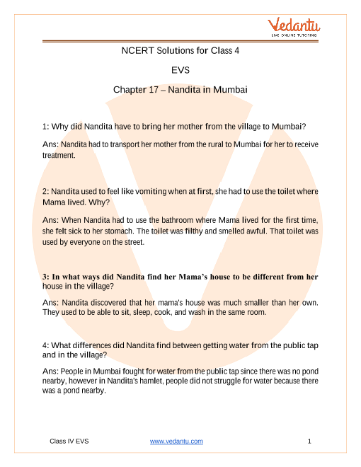 NCERT Solutions for class EVS chapter 17 Nandita in Mumbai part-1