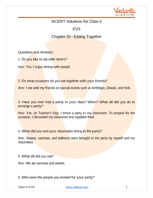 NCERT Solutions for class 4 EVS chapter 20 Eating Together part-1