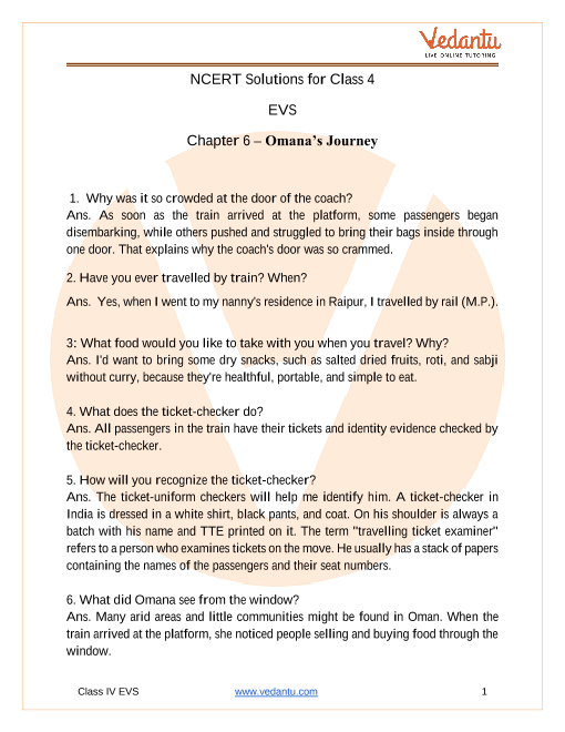 NCERT Solutions for class 4 EVS chapter 6 Omana's Journey part-1