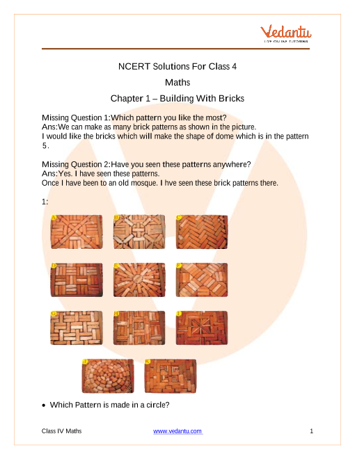 Access NCERT Solutions For Class 4 Math  Chapter 1 – Building With Bricks part-1