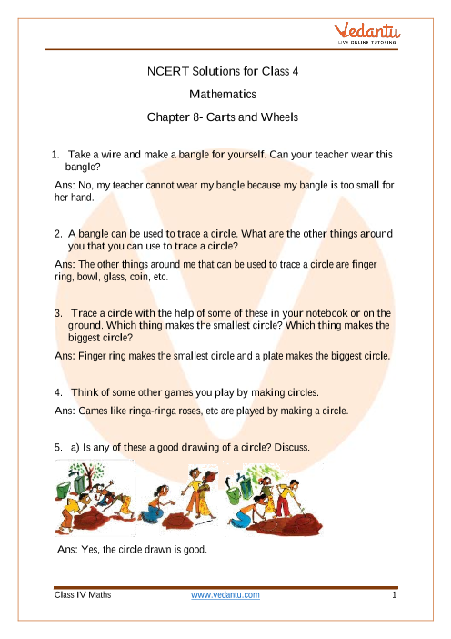 NCERT Solutions for Class 4 Maths Chapter 8 - Carts And Wheels part-1