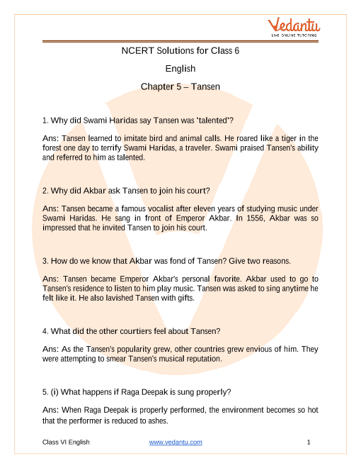 Access NCERT Solutions For Class 6 English Chapter 5 – Tansen part-1