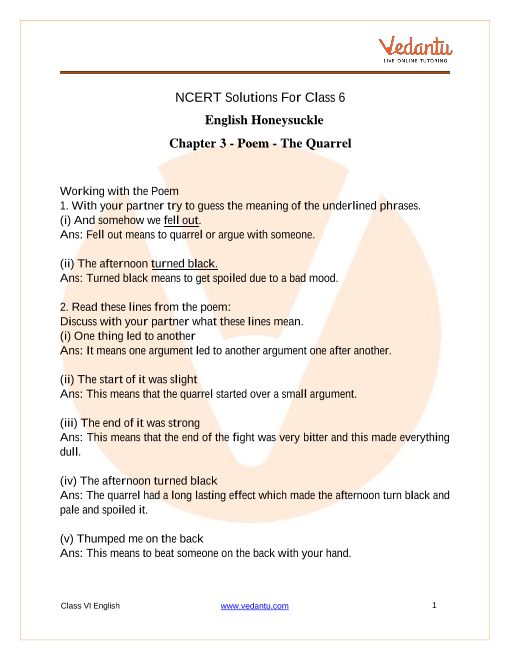 Ncert Solutions For Class 6 English Honeysuckle Poem The