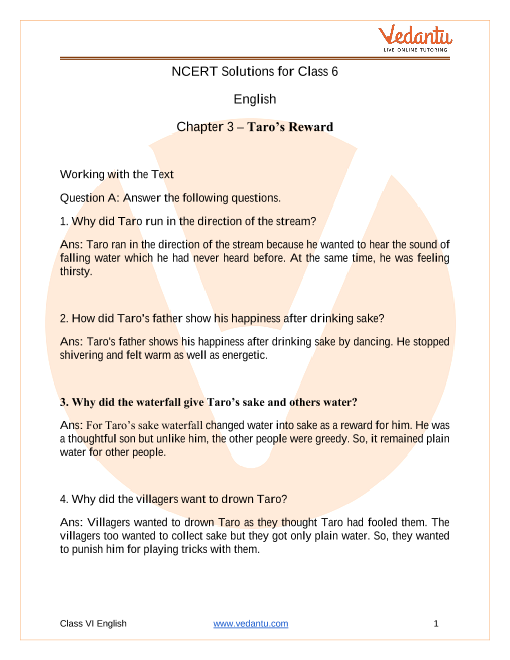 Access NCERT Solutions for Class 6 English  Chapter 3 – Taro's Reward part-1
