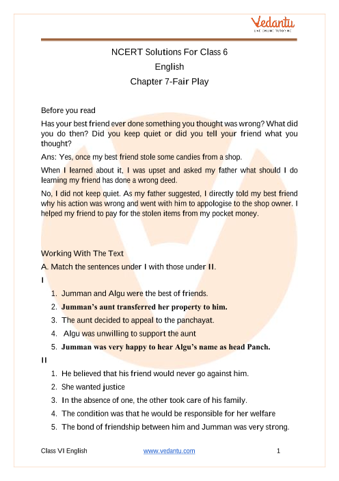 NCERT Solutions for Class 6 English Honeysuckle Chapter 7 Fair Play part-1