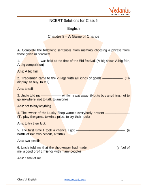 NCERT Solutions for Class 6 English Honeysuckle Chapter 8 A Game of Chance part-1
