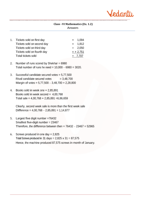 NCERT Solutions For Class 6 Maths Chapter 1 Knowing Our Numbers - Free PDF