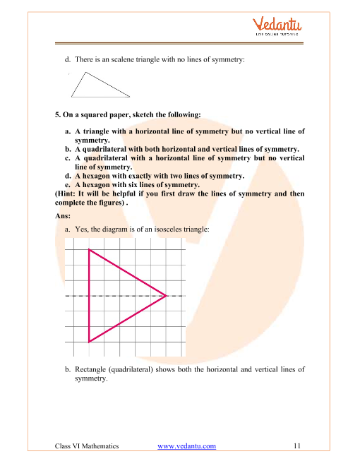 NCERT Solutions for Class 6 Maths Chapter 13 Symmetry - Free PDF