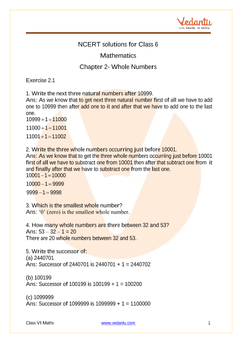 Whole Numbers part-1
