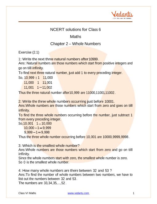 NCERT Solutions for Class 6 Maths Chapter 2 Whole Numbers part-1