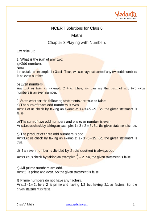 Access NCERT Solutions for Maths class 6 Chapter - 3 Playing With Numbers part-1