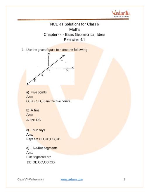 NCERT Solutions for Class 6 Maths Chapter 4 Basic Geometrical Ideas part-1