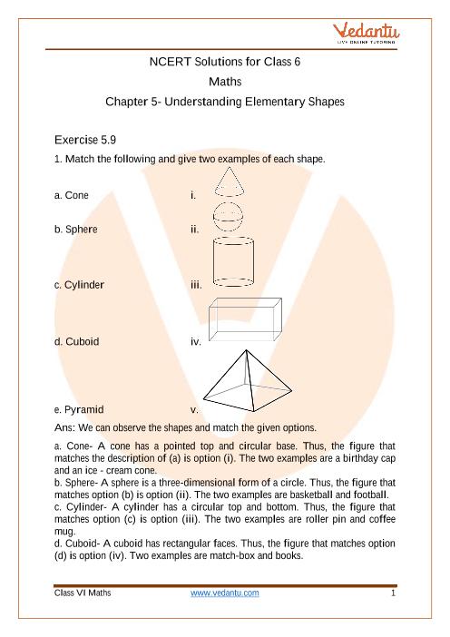 Access NCERT Solutions for Class 6 Mathematics Chapter 5 - Understanding Elementary Shapes part-1