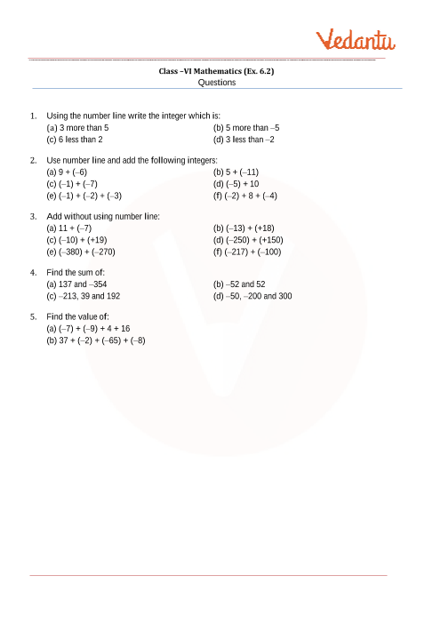 Ncert Solutions For Class 6 Maths Chapter 6 Integers Free Pdf