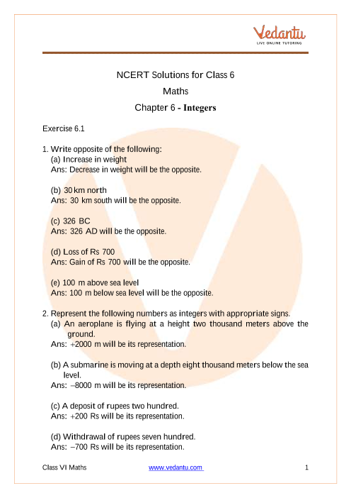 NCERT Solutions for Class 6 Maths Chapter 6 Integers - Free PDF