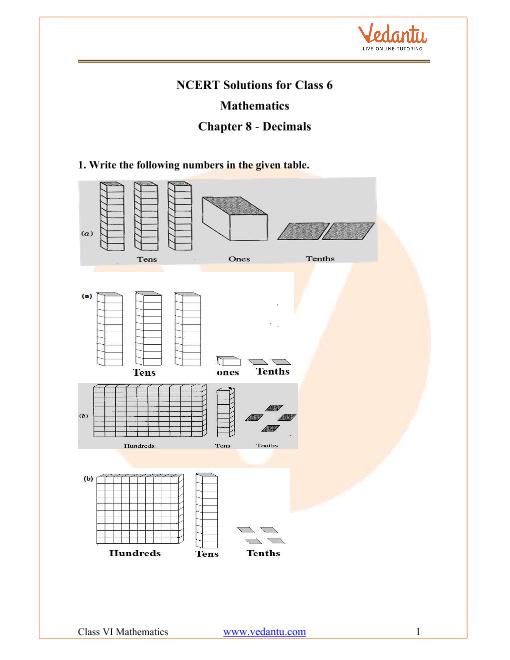 NCERT Solutions for Class 6 Maths Chapter 8 Decimals part-1