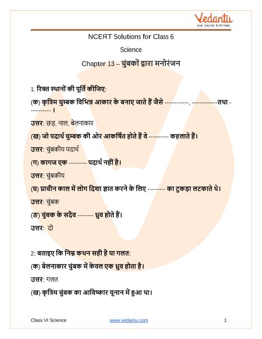 Access NCERT Solutions for Class 6 Science Chapter-13  चुंबकों द्वारा मनोरंजन part-1