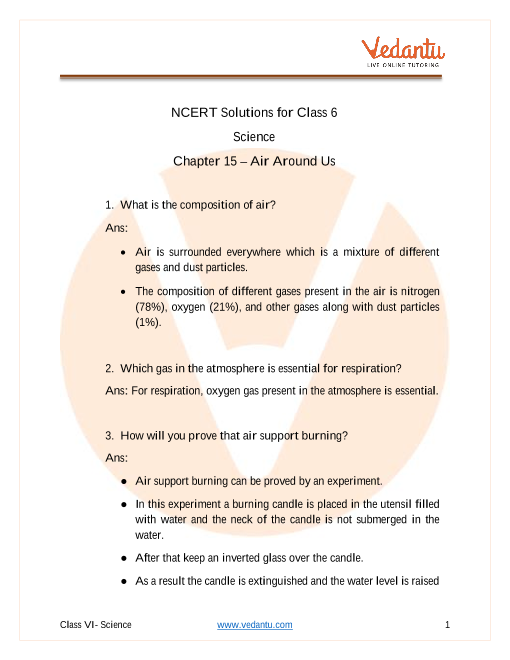 NCERT Solutions for Class 6 Science Chapter 15 part-1
