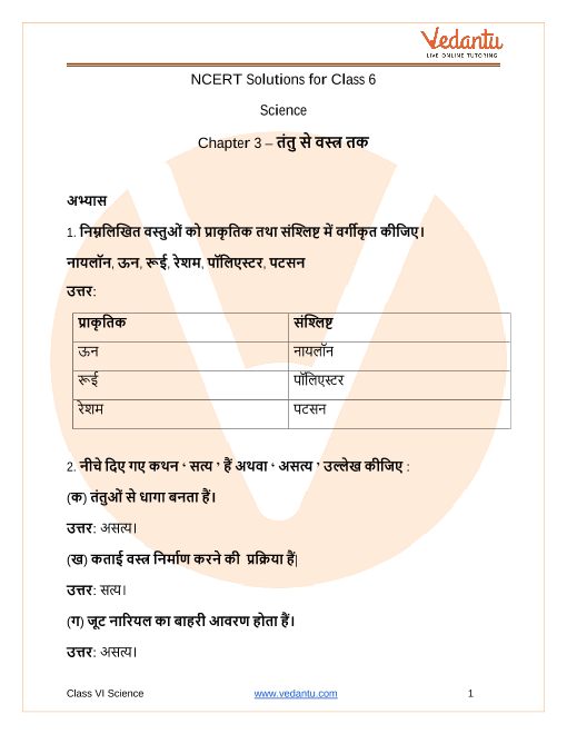 NCERT Solutions for Class 6 Science Chapter 3 Fibre to Fabric In Hindi part-1