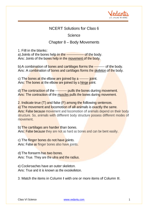 NCERT Solutions for Class 6 Science Chapter 8 Body Movements part-1