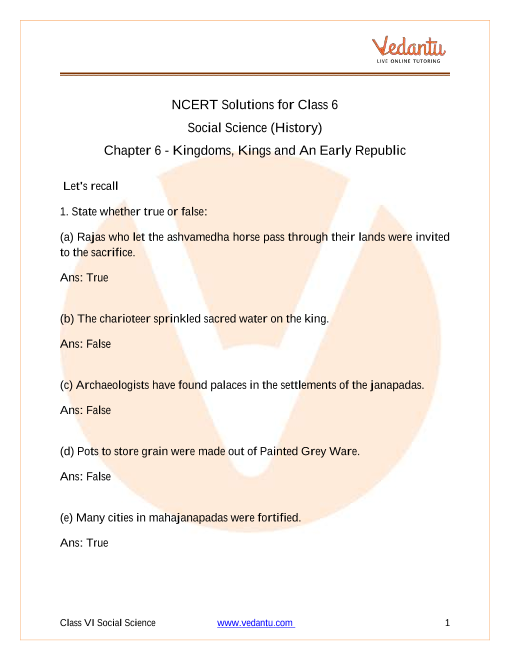 NCERT Solutions for Class 6 Social Science History Our Past Chapter 6 Kingdoms Kings an Early Republic part-1