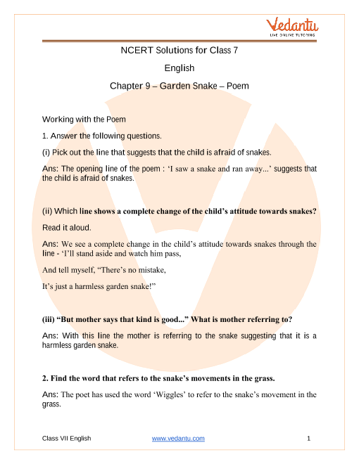 Ncert Solutions For Class 7 English Honeycomb Chapter 9 Poem