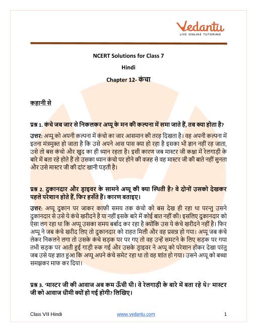 Access NCERT Solutions for Class 7 Hindi पाठ १२ - कंचा part-1
