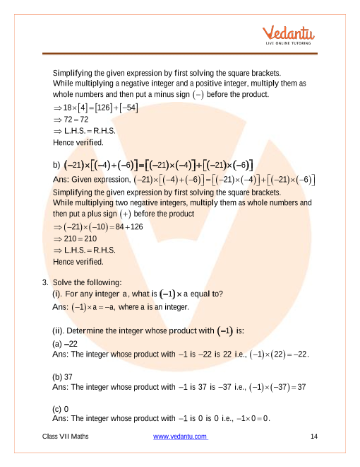 Ncert Solutions For Class 7 Maths Chapter 1 Integers Free Pdf