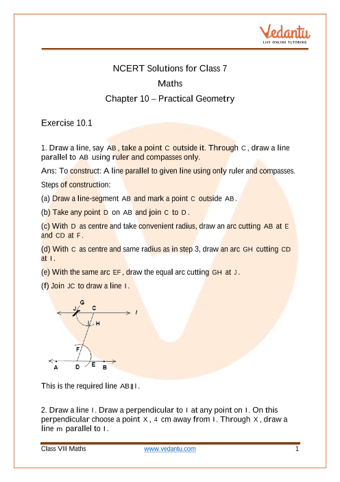 Access NCERT Solutions for Class 7 Chapter 10- Practical Geometry part-1