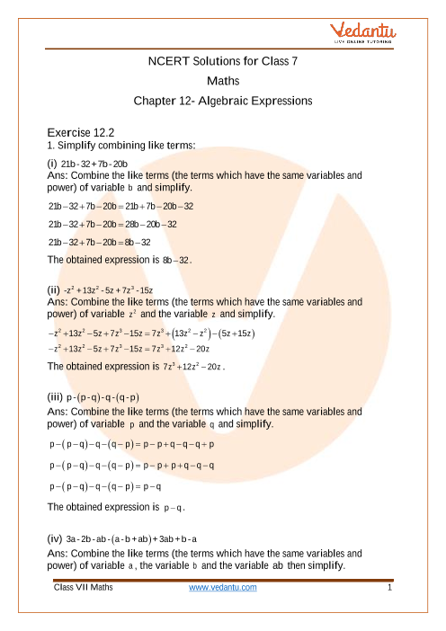 Access NCERT Solutions for Maths Class 7 Chapter 12- Algebraic Expressions part-1