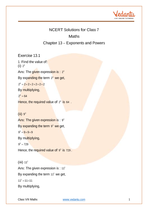 Access NCERT Solution for Class 7 Chapter 13- Exponents and powers part-1
