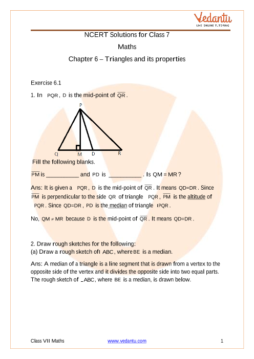 Access NCERT Solutions for Class 7 Maths Chapter 6 – Triangles and its properties part-1