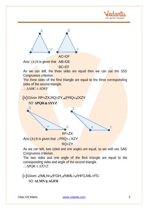 Ncert Solutions For Class 7 Maths Chapter 7 Congruence Of Triangles Updated For 2020 21