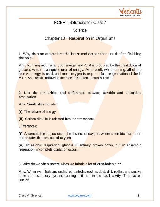 Respiration in Organisms part-1