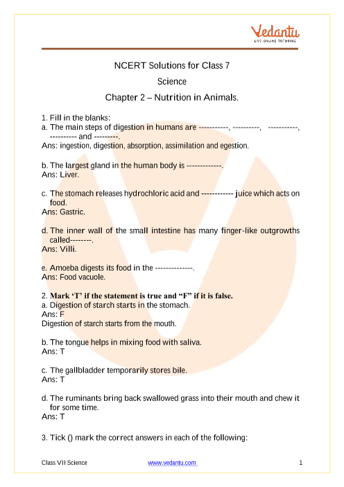 Access NCERT Solutions for Class 7 Science  Chapter 2 – Nutrition in Animals. part-1