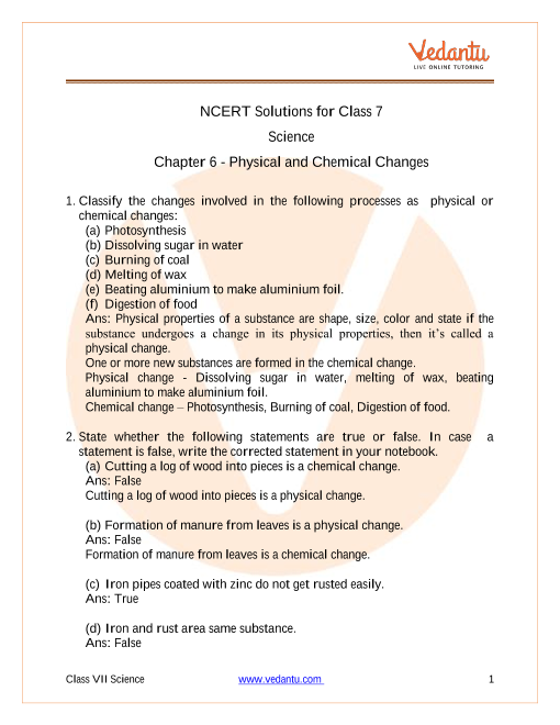 Access NCERT Solutions for Class 7 Science Chapter 6 - Physical and Chemical Changes part-1
