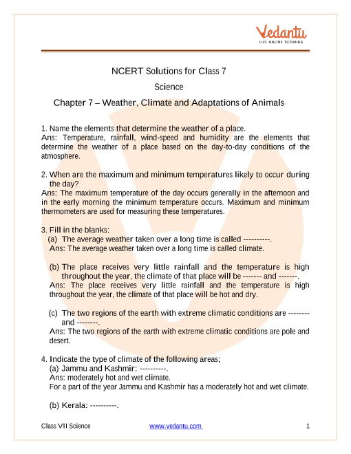 Access NCERT Solutions for Class 7  Science Chapter 7 – Weather, Climate and Adaptations of Animals part-1