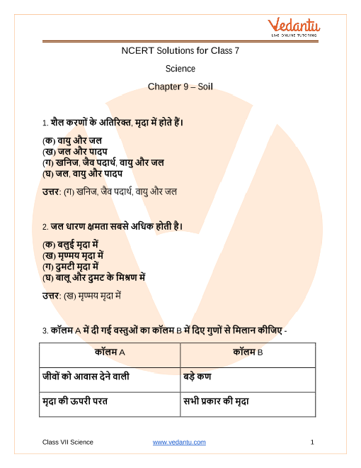 NCERT Solutions for Class 7 Science Chapter 9 Soil In Hindi part-1