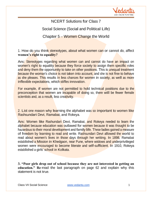Access NCERT Solutions for Class 7 Social Science  Chapter 5 – Women Change the World - Copy part-1