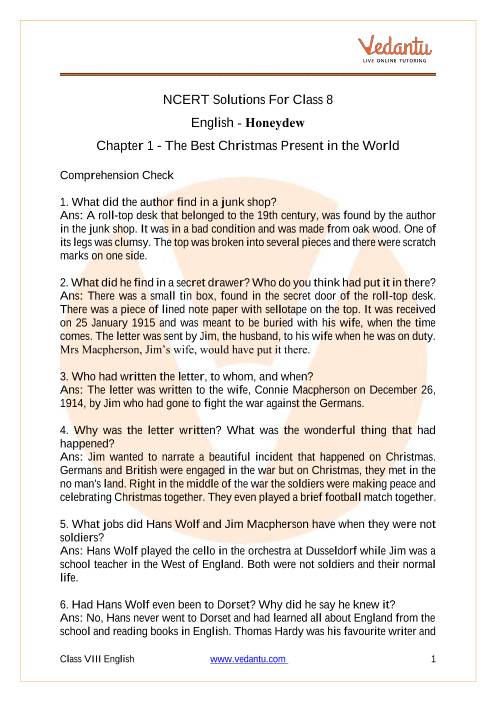 Access NCERT Solutions For Class 8 English Honeydew Chapter 1 - The Best Christmas Present in the World part-1