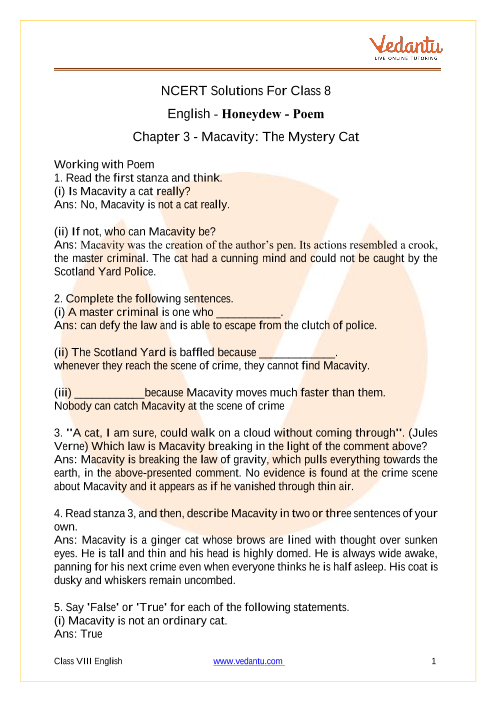 Access NCERT Solutions For Class 8 English Chapter 3 - Macavity The Mystery Cat part-1